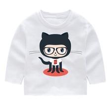 Github Kid's Print Cotton Fashion Long Sleeve Tshirts Kid's Long Sleeve Tops Baby Girl Harajuku Clothes майка print bar github