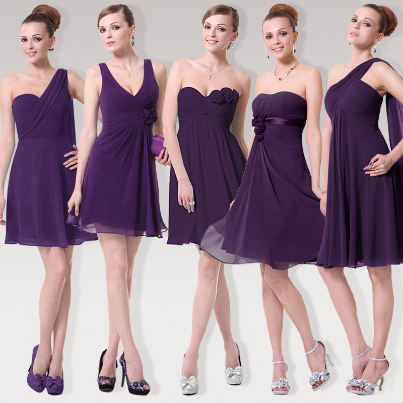 Pretty girl Purple Gasa vestido de dama de honor hermanas vestido ...