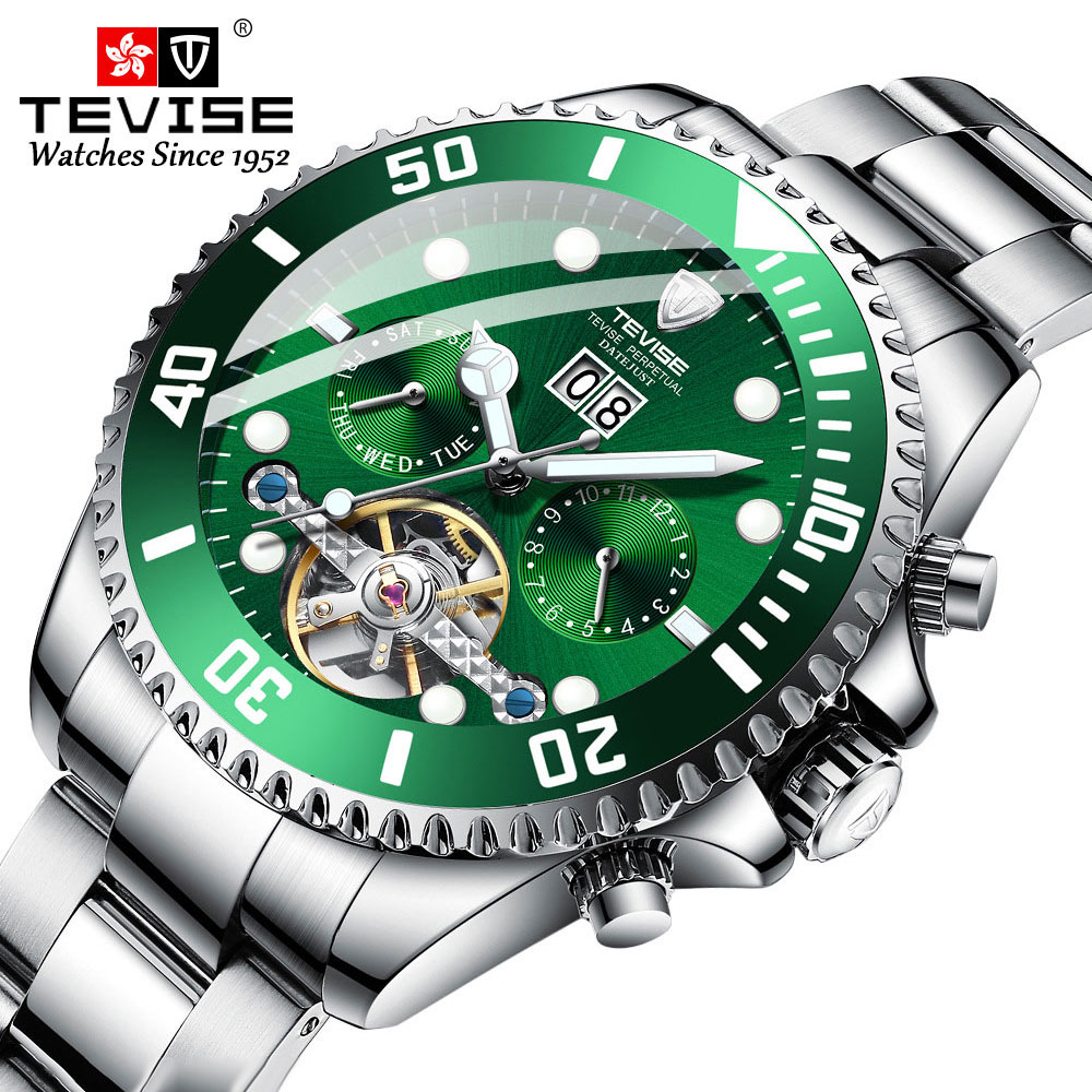Mens Watches Mechanical-Watch Tourbillon Automatic Luxury Brand Skeleton Stainless-Steel