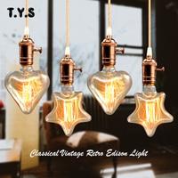 Ретро лампа Звезда Сердце Тип Винтаж Edison e27 Лампа накаливания 220 v Праздник света 40 w лампы накаливания лампада для украшения дома