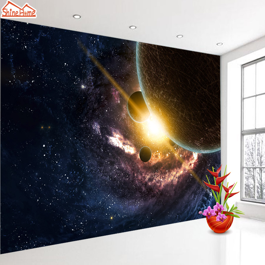 ShineHome- Large Custom Cosmos Space Starry Wallpapers 3D Wall Murals Contact Paper Home Decor Living Room Wallpaper-Roll-Size shinehome chinese purple rose flower wallpapers custom mural for 3d living rooms walls paper murals decorative wallpaper roll