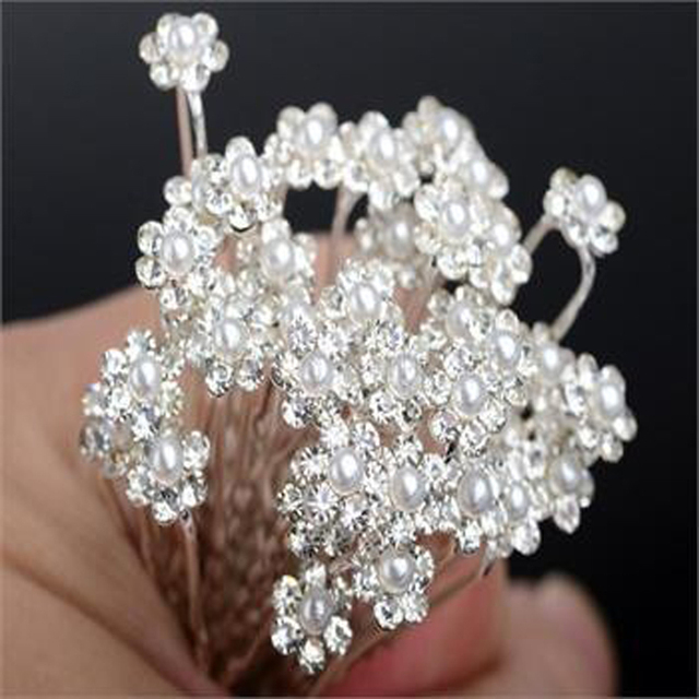 20pcs Flower Bridal Wedding Hair Pins Wedding Accessories Bridal Pearl Hairpins Crystal Rhinestone Diamante Hair Pins Clips