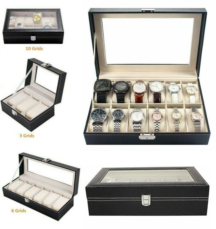 Men Women Unisex  Faux Leather Watch Case Display Box Storage Jewellery Glass Storage Box Case