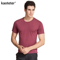 100%純粋な絹の男のtシャツ高品質半袖oネック男カジュアル野生固体6色男性tシャツセーターシャツトップス