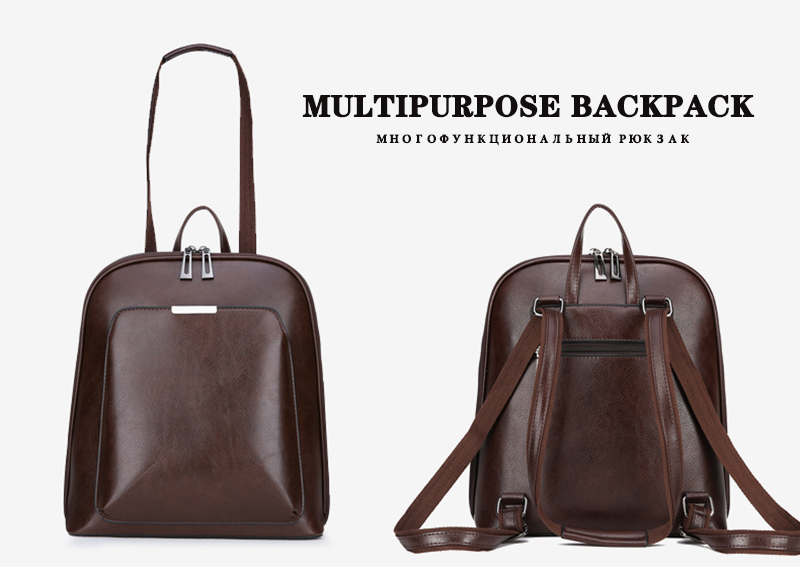 HTB1A7ggR7zoK1RjSZFlq6yi4VXaW 2019 Women Leather Backpacks For Girls Sac a Dos School Backpack Female Travel Shoulder Bagpack Ladies Casual Daypacks Mochilas