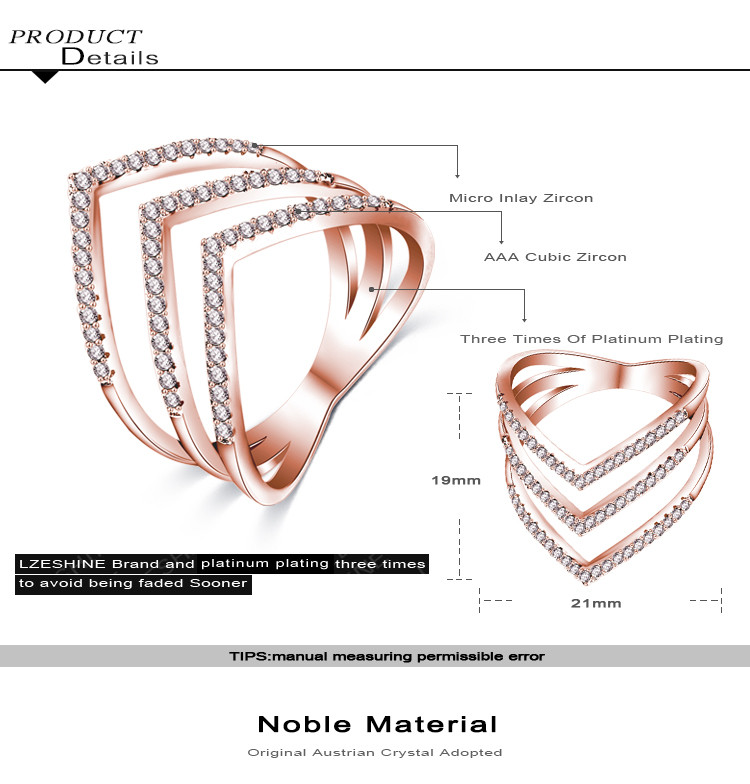 Promotion Sale Beagloer 17 New Fashion Ring Rose Gold Color Trendy Three V Shape Ring for Women CRI1034 3