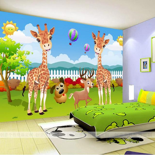 Custom 3D Photo Wallpaper Creative Cartoon Wallpaper Children Bedroom  Backdrop Wallpaper Tree Giraffe Wallpaper Mural