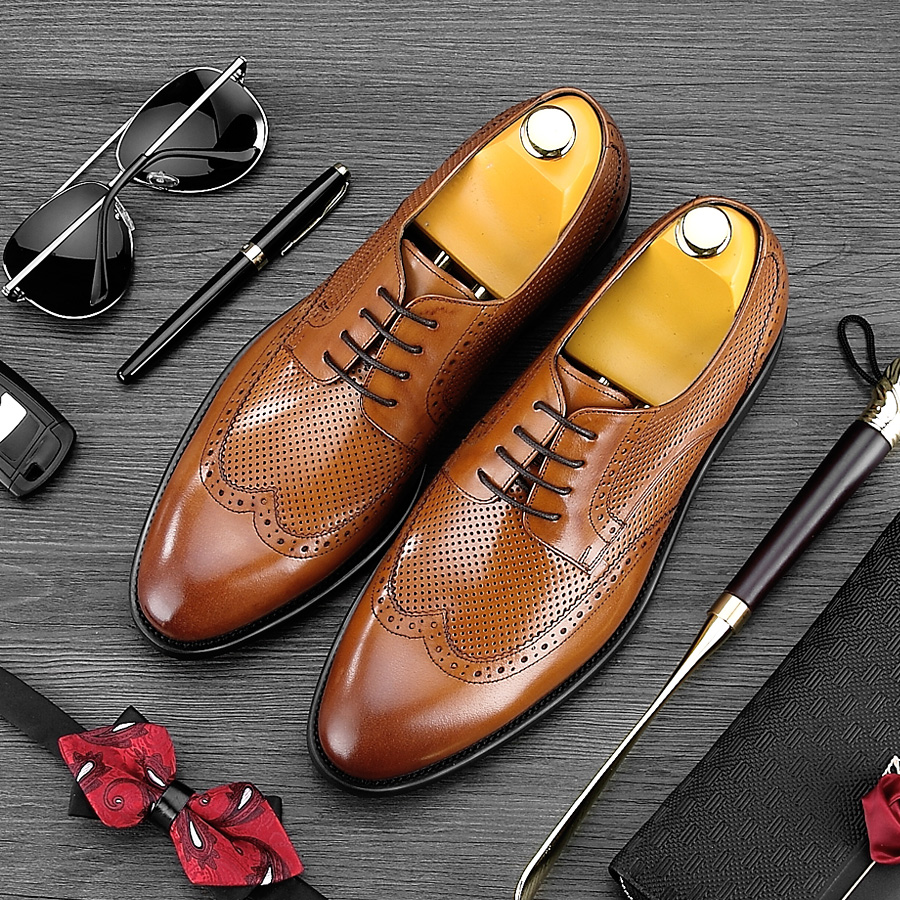 2017 Summer Style Pointed Toe Carved Man Formal Dress Shoes Genuine Leather Party Oxfords Men's Breathable Brogue Footwear NE16 luxury brand carved man brogue shoes hot sales genuine leather dress party oxfords pointed toe formal men s handmade flats mg07