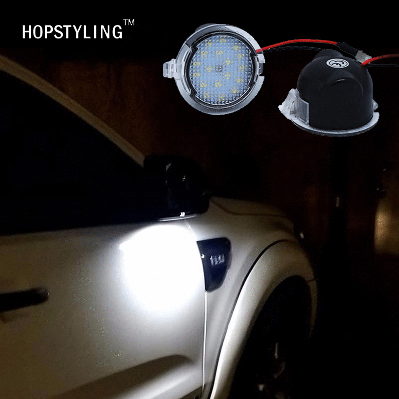 Hopstyling 2x til Ford LED Under Mirror Puddle Light F-150 EDGE Explorer Mondeo Taurus S-Max ført Bagspejl Lampe Bilstyling