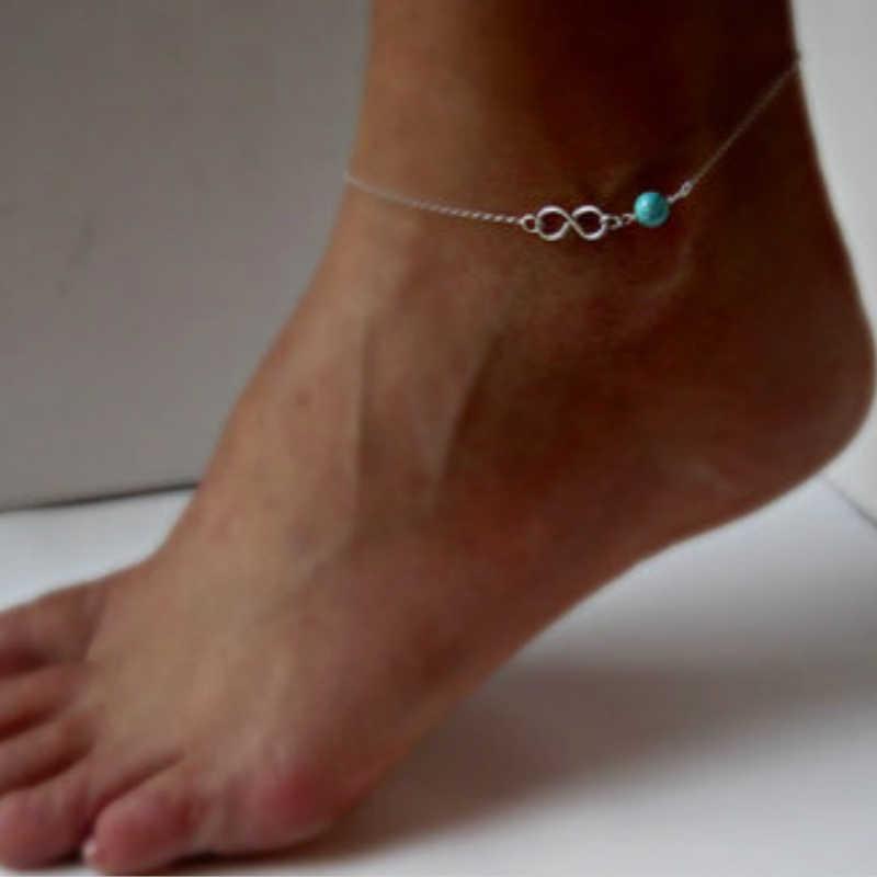 Nowa biżuteria Anklet proste lato Anklet zroszony obrączki dla kobiet biżuteria na stopy Boho boso sandały obrączki hurtowych