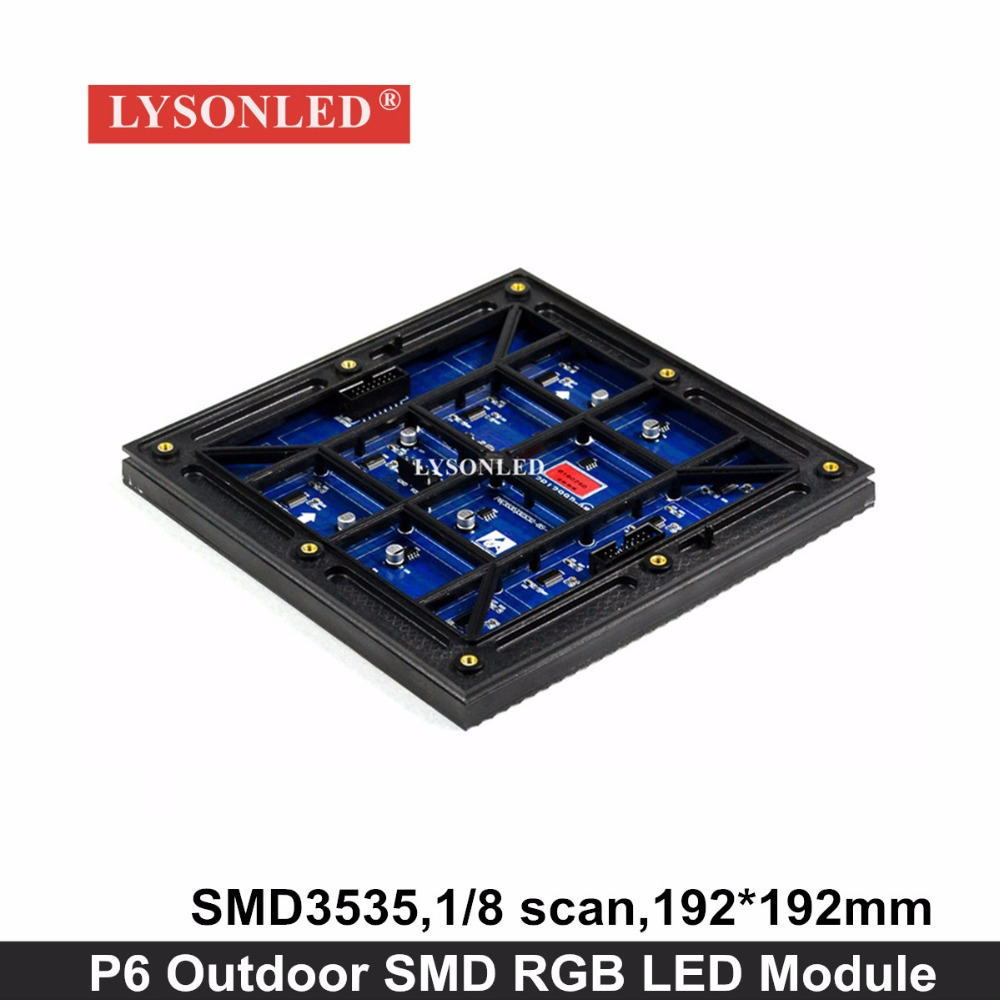 Lysonled 2017 Newest P6 Outdoor Smd3535 Rgb Led Display Module 192*192mm ,1/8 Scan Waterproof P6 Full Collor Smd Led Module