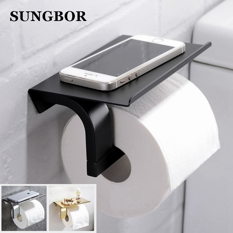Quality Bathroom Wall Mount Phone Holder Toilet Paper Holder Stainless Steel Roll Holder Paper Shelf Bathroom Accessories BG6610 meifuju vintage toilet paper holder with shelf wall mount bathroom accessories bronze paper holders antique brass roll holder