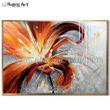 Original Art Handmade Modern Flower Wall Oil Painting on Canvas Hand-Painted Abstract Orange for Room Decor