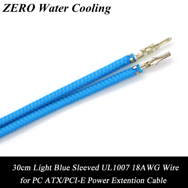 50pcs/Lot Free Shipping Light Blue Sleeved UL 1007 18AWG Wire for PC ...