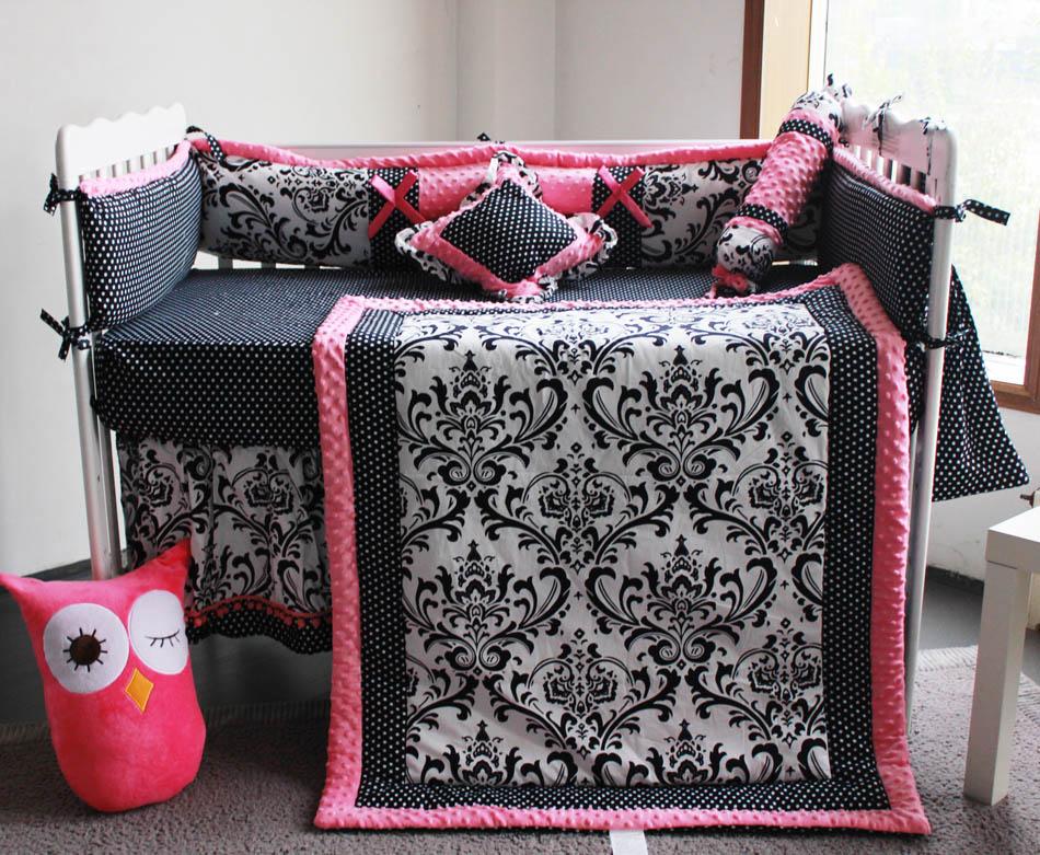 10 Pc Crib Infant Room Kids Baby Bedroom Set Nursery Bedding Floral black pink cot bedding set for newborn baby girls