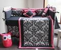 10 Unid Cuna Infantil Sala de Niños Juego de Dormitorio de Bebé Vivero bedding floral negro rosa cuna bedding set para el bebé recién nacido niñas