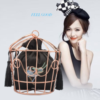 Handbags Individual Embroidery Metal Hoops Birdcage Bags Handbags Party Catwalk Bags Evening Dresses Trends Tote Bag For Women