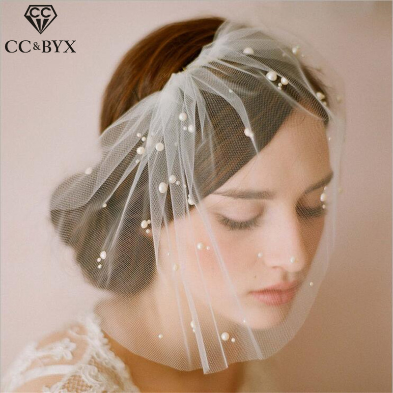 CC Jewelry Veil With Comb Brides Wedding Hair Accessories For Women Bridesmaids Handmade Party Bridal Fine Romantic Gifts V002
