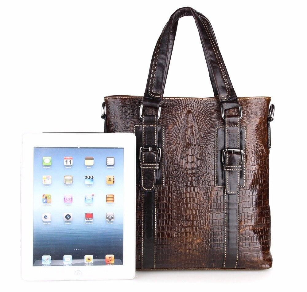 Augus Imported Top Layer Cow Leather Handbag Crocodile Pattern Messenger Bags Vintage Shoulder Bag For Men 7265C