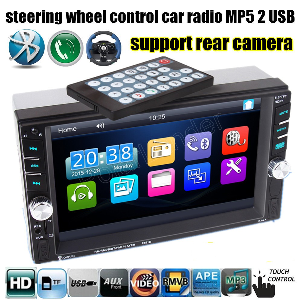 ФОТО 2 DIN 6.6 inch support rear camera/DVR input Car Stereo Bluetooth Audio HD MP4 MP5 Player Radio Touch Screen 2 USB port