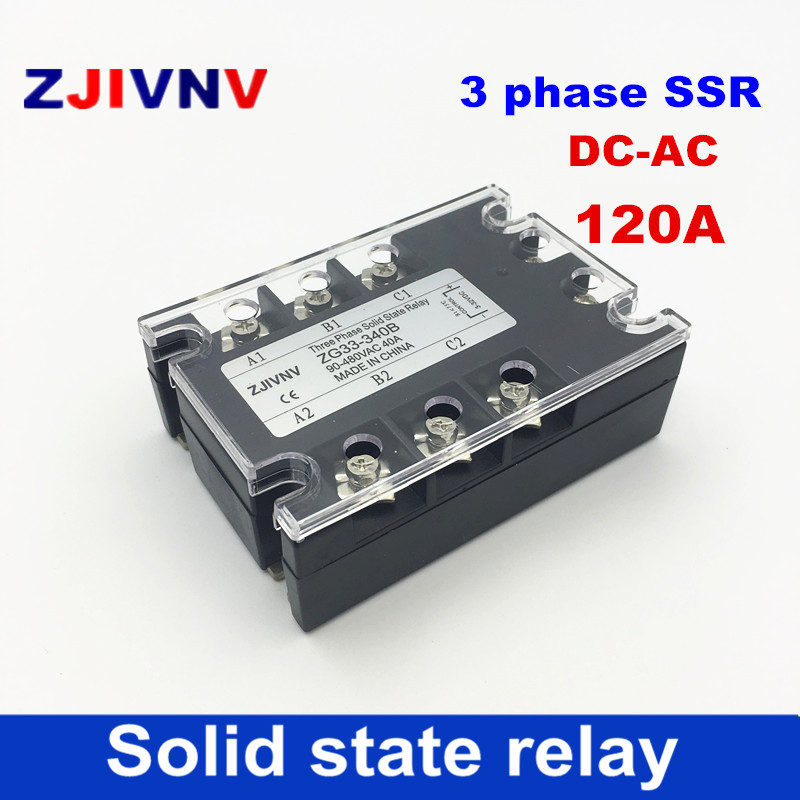 цена на High quality Full 120A 3-phase three phase solid state relay DC3-32v control AC90-480v SSR 3 phse relay solid relays