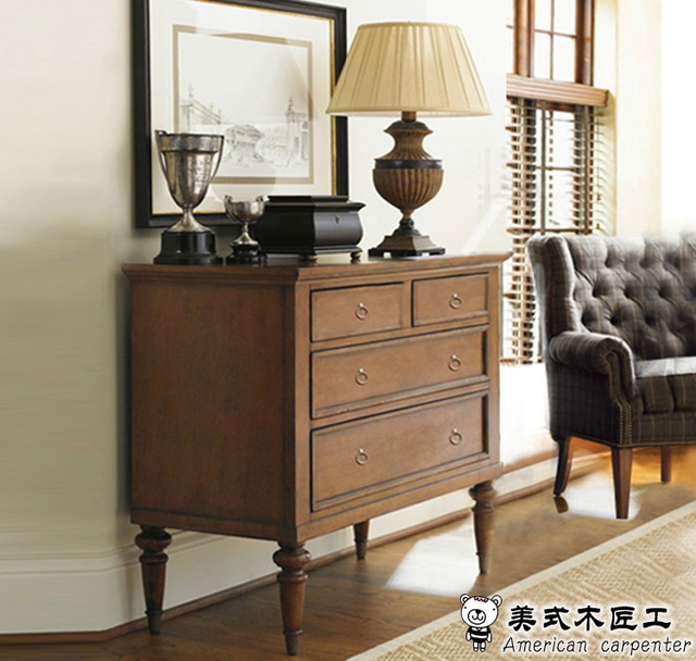 American Semicircle French Console Table Cabinet Entrance Hall Cabinet  Solid Wood Table Neoclassical End View Of