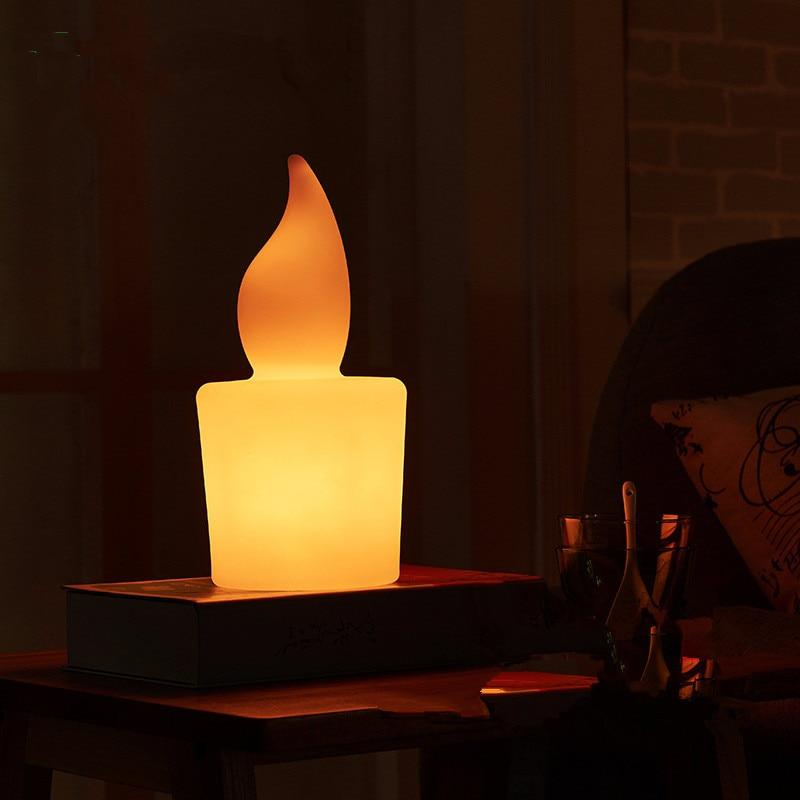 Креативная свеча с дистанционным управлением светодиодный ночник USB зарядка бар Спальня отель кабинет красочный rc Светодиодный светильник Настольная лампа наружная лампа - 3