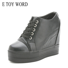 Buy The increase in female 10 cm stealth thick soled platform shoes with white shoes casual shoes Korean lace-up 2016 new spring directly from merchant!