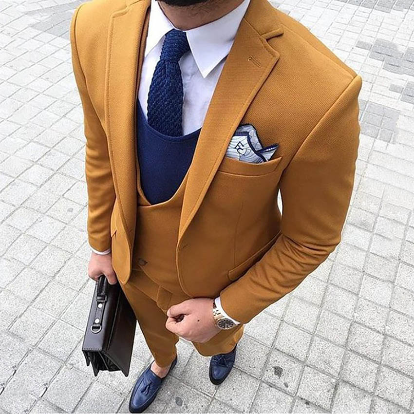 2020 New Fashion Mens Tweed Wool Suits Three-pieces Slim Fit Formal Shawl Lapel Business Tuxedos Groomman( Blazer+Vest+Pants )