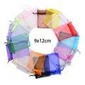 Оптовая продажа органза Сумки 9x12 см, свадебные Чехлы Ювелирная упаковка Сумки, хороший подарок, смесь цветов, 50 шт./лот - фото