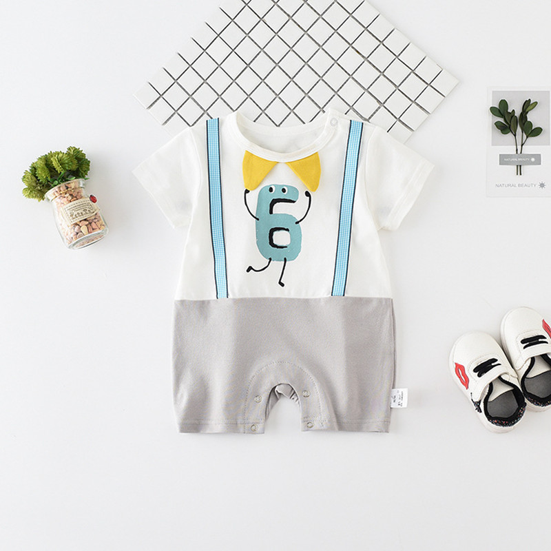 2018 New Summery Baby Clothes Baby Jumpers Baby Girls Boys Strap Digital Print Short Sleeve Solid Cotton Coat