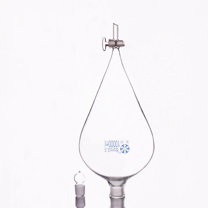Separatory funnel pear shape,with ground-in glass stopper and stopcock.Capacity 10000ml,glass switch valveSeparatory funnel pear shape,with ground-in glass stopper and stopcock.Capacity 10000ml,glass switch valve