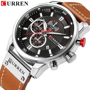 Image 1 - CURREN יוקרה מותג גברים צבאי ספורט שעונים גברים של קוורץ שעון עור רצועה עמיד למים תאריך שעוני יד Reloj Hombre