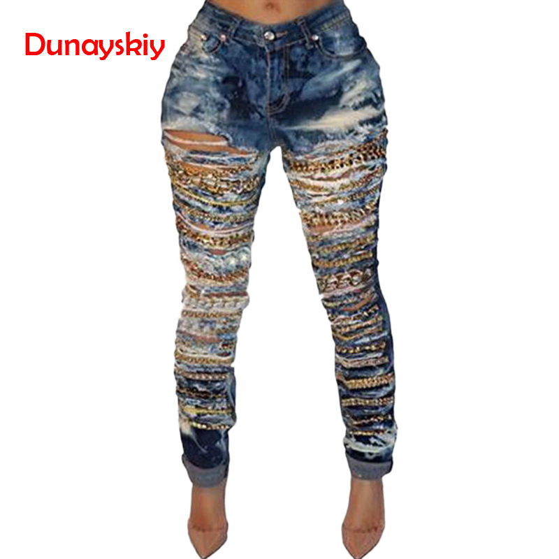 Sexy Skinny Ripped Tassel   Jeans   Women Denim Pants Hole Destroyed Knee Pencil   Jeans   With Chain Casual boyfriend   Jeans   Stretch Mom