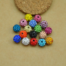 MRHUANG Free shipping!14mm 100pcs Mixed color Disco Ball Crystal Shamballa Beads spacer Ceramic Clay Beads Fit Jewelry Handmade