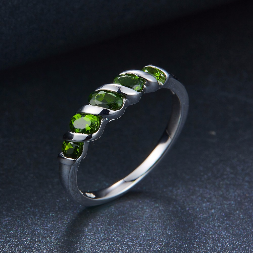 Image 5 - Hutang Wedding Rings Natural Diopside Ring Pure 925 Sterling  Silver 5 stone Fine Jewelry Vivid Green Gemstones for Womens  Giftchrome diopside ringchrome diopsidegemstone rings silver -