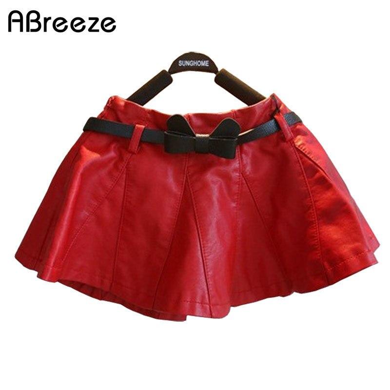 Sanft 80-130 Cm Kinder Mädchen Herbst Winter Kleidung 2018 Neue Mode Schwarz/rot Kind Mädchen Pleasted Faux Leder Weiche Pu Tutu Röcke Röcke