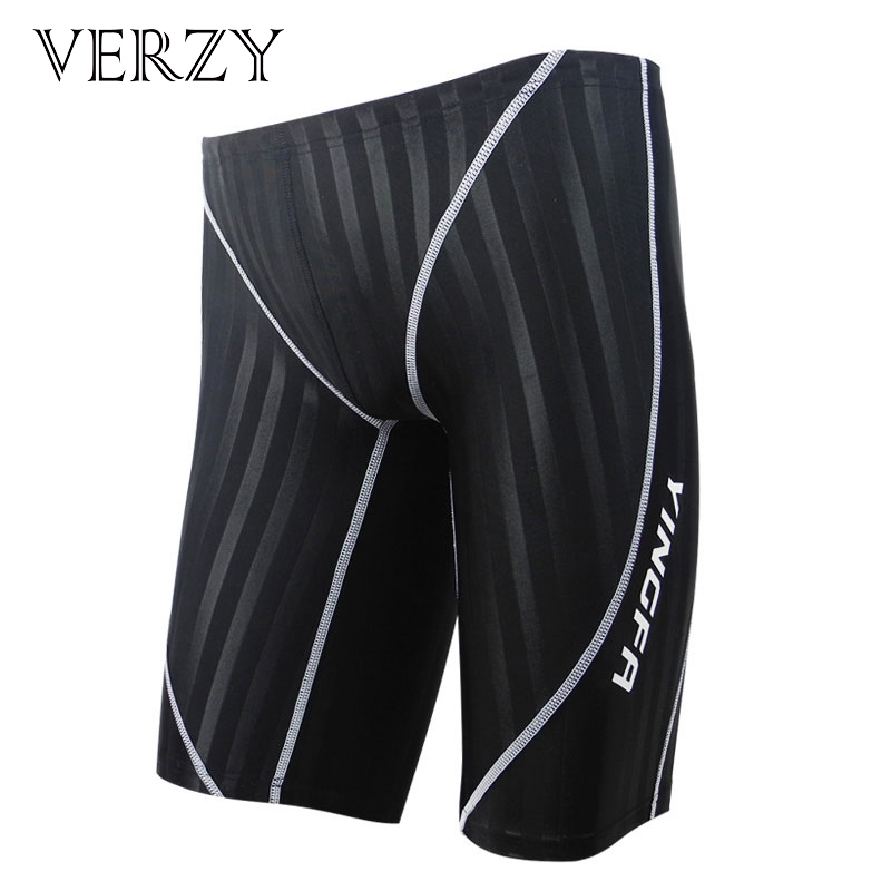 Waterproof Men swimming trunks Brand mens swimwear Drawstring shorts Swimsuits Training Competition swimming suit