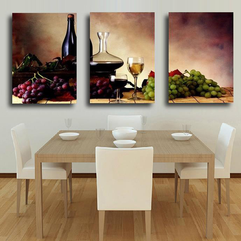Unframed 3 Panel Reto Abstract Wine Grape Fruit Vintage Home Wall Decor Print Painting On Canvas