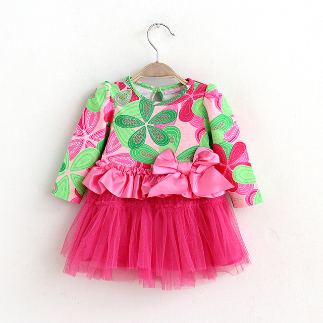 New baby girls dress floral print infant princess 1 year birthday dresses big bow tutu baby girl clothes 6M-3T