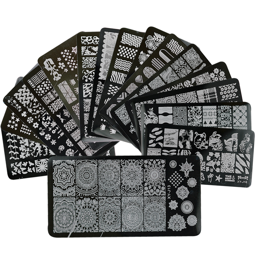 1 X New Designs Lace Mixed Stamping Nail Art Image Plates Stainless Steel Template Polish Manicure Stencil Tools BEXYJ01-16