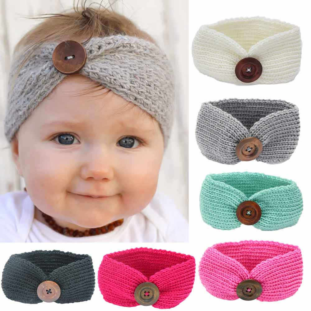Baby Knitting Infant Kids Girl Button Hairband Baby Girls Head Wrap Hair Bands Ears Warmer Baby Headband Accessories 15