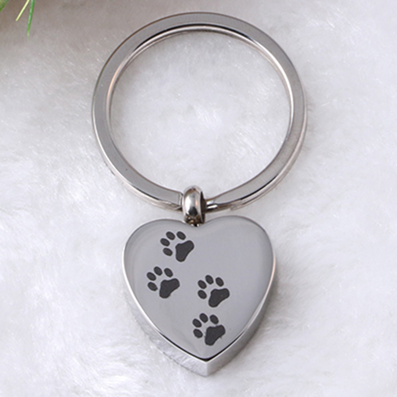 Cremation Jewelry Keepsake Ashes Keychain Pet Paw Print Heart Urn Memorial Pendant Wholesale Cheap