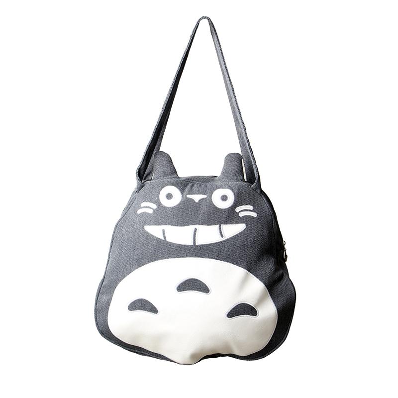 Prix pour Preppy Style Femmes Grand Totoro Sac de Haute Qualité Toile de Causalité fourre-tout Sacs de Bande Dessinée Drôle Unique Épaule Sacs pour Adolescente A6