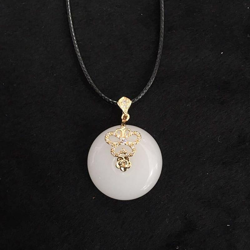 Natürliche Weiße Jade Rose Gold Stickerei Anhänger Halskette Anhänger