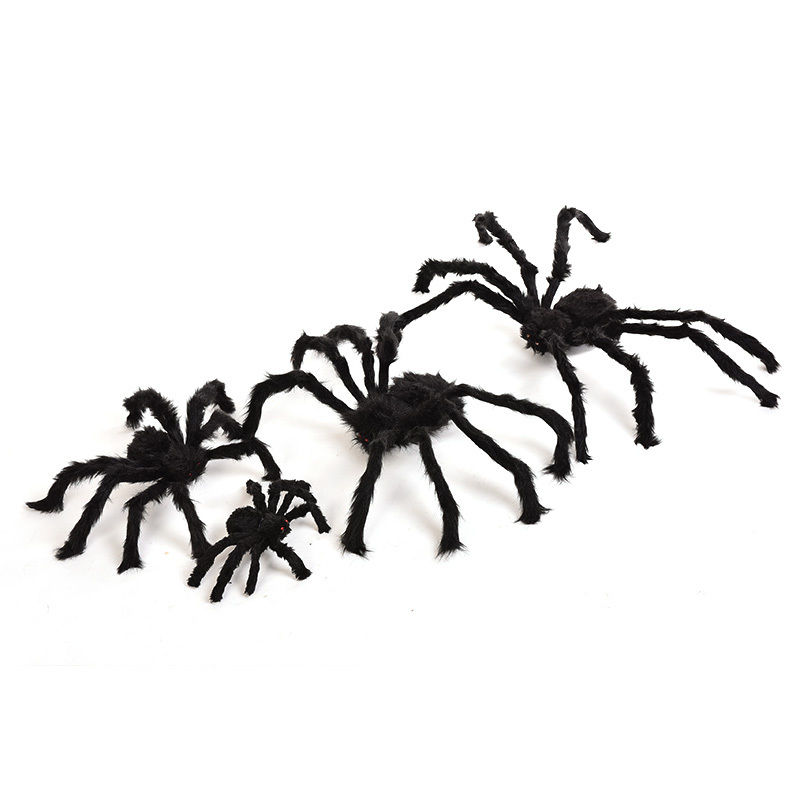 black halloween party spiders halloween terror halloween prop haunted house bar horrific decoration soft plush black spider toy in party diy decorations