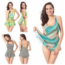 Large code one-piece women swimsuits Hot sale conservative swimwear  printed swimming clothes(L-3XL)