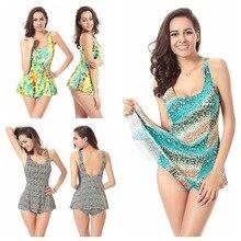 Large code one piece women swimsuits Hot sale conservative swimwear printed font b swimming b font