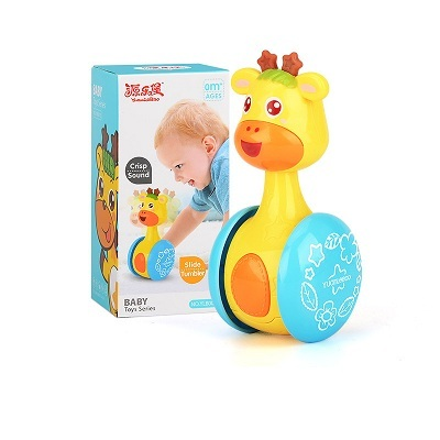Baby Rattles Tumbler Doll Toys Bell Music Roly-poly Learning Education Toys Gifts For Baby Kid Children 5