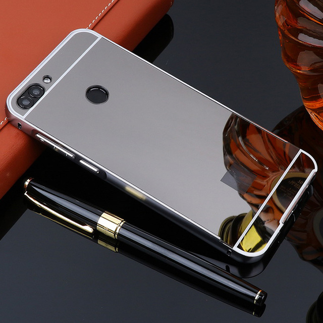 For Huawei P Smart Case   Plating Aluminum Metal Bumper Mirror Pc Acrylic Back Cover